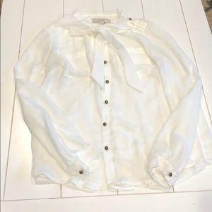 Ann Taylor Loft White Tie Neck Blouse S